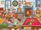 cats playing room