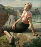 Girl on a Cliff by Harold Harvey 1926