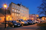 Early evening square Lezno Poland