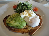 ^ Avocado, sourdough toast, Persian feta, poached egg, rocket &