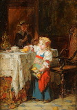 A child taking fruit from a table by Antoine Emile Plassan