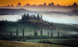 sunrise in val d'orcia, italy