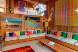 Very Colorful Sitting Room Wood Paneling