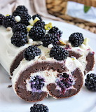 Chocolate blackberry roll cake