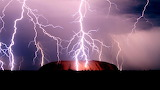 Places - Lightening over Ayers Rock in Australia