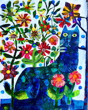 cat with flowers folkart