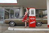 Vintage Car, Girl, Gas Station