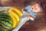 Boy, watermelon, bananas, hat, child