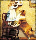 Vintage Girl and Dog