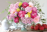 Vase with pink flowers and plate of pomegranates-Jigsaw Puzzle