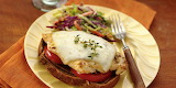^ Herbed Chicken Melt Open Faced Sandwich