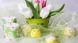 Flowers - easter - eggs - candles