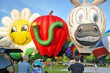 Colorful hot air balloons in the race