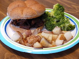 BBQ venison, hash browns and broccoli