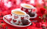 Valentine, coffee, cups, hearts, chocolates