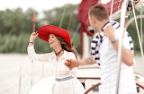Girl, guy, love, yacht, pair, couple, male, female, red hat