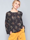 Eden Society Olive Green Rayon Girly Printed Blouse