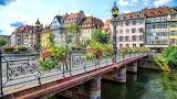 city-bridge-flowers-river-building-houses
