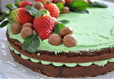 Mint chocolate cake with berries