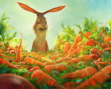 ^ Rabbit, many carrots, art painting