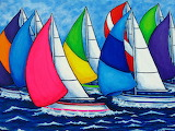 Colourful Regatta Painting by Lisa Lorenz