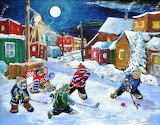 Children play hockey on the street in the snow paintings by arti