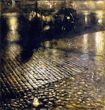 Warsaw Cab at Night Jozef Pankiewicz - 1893