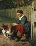 Girl Feeding Chickens - Hans Thoma 1870