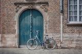 Bicycle, brick wall, building, house, doorway, window