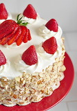 Strawberry almond cake