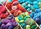 Baskets of yarn of all colors