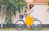 Girl, bike, tree, hat, dress, sunglasses, yellow, jacket, birch,