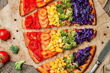 Rainbow vegan pizza