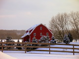 ^ Red house in the snow