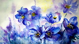 Watercolor painting-blue flowers