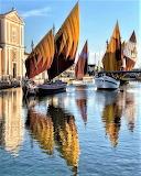 Colorful sailboats Cesenatico Italy