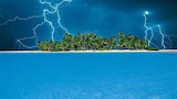 Lightning Storm Over a Small Tropical Island