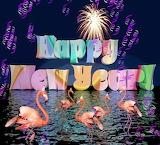 Flamingo happy new year