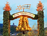 Merry Christmas Display & Castle in Background Cochem Germany