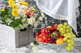 Flowers, bouquet, grapes, fruit, apricot, cherry, nectarine, box