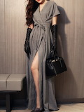 She's Gray Elegant Slit Cotton-blend Surplice Neck Wrap Dress