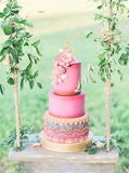 Colorful summer wedding cake