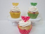 ^ Fruit slice cupcake toppers