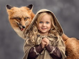 beautiful girl with fox