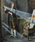 Newton studia la composizione della luce (stampa antica)