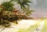 Painting seaside house