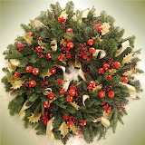^ Red and gold Christmas wreath