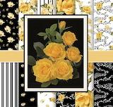 Pattern, black gold roses