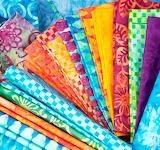 Rainbow fan of fabrics