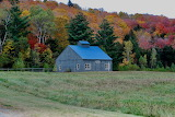 Blue Autumn Barn